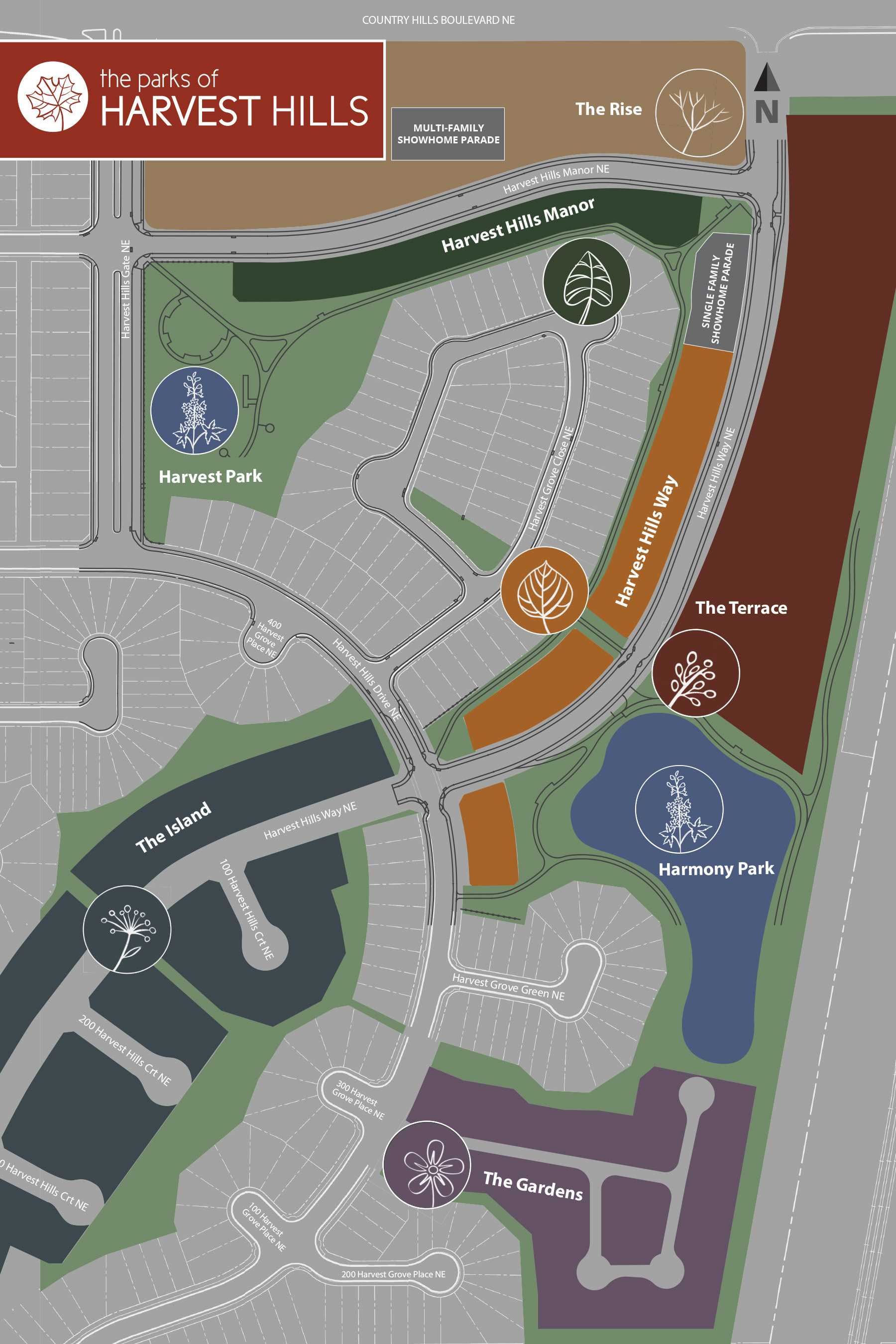 The Parks of Harvest Hills Phase Map